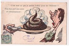 """CPA FANTAISIE illustration """"... tes étrennes !"""" Merde Caca sur un plateau"""