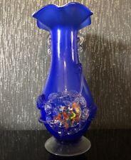 """VINTAGE VASO di Cristallo Blu Retrò decorata a mano soffiato Murano? 60s - 70s 23cm/9"""""""