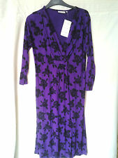 Adini Viscose Lycra dress V front crossover empire line3/4 sleeves unlined XS