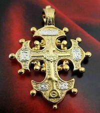 """Old Believers EC Cross 1 1/4"""" Gold P over 925 Sterling Silver Christian Pendant"""
