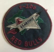 AUTHENTIC USAF US Air Force F-106 Red Bulls Cloth Patch