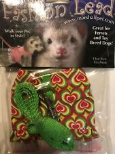 Marshall Ferret Toy Dog Fashion Jacket Style Harness Lead Pink & Green Hearts