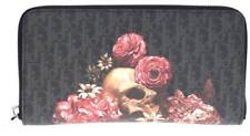 NEW DIOR HOMME MONOGRAM LEATHER SKULL& ROSES LONG ZIP AROUND WALLET W/BOX
