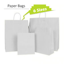 More details for 50 brown white twist handle paper party and gift carrier bags rope handles with