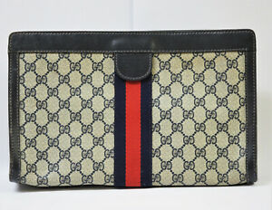 AUTHENTIC GUCCI PARFUMS MADE IN ITALY GG PATTERN PVC x SHERRY CLUTCH BAG NR
