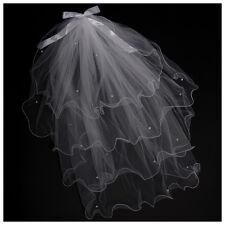 Weiß Hochzeit Perlen Braut Schleier Brautschleier P5F2