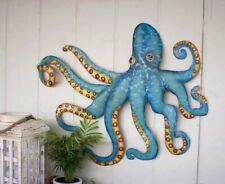 Octopus Wall Decor Hand Hammered Recycled Metal Hanging Coastal Nautical Beach