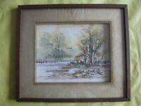 Amunay - Aquarelle originale - Certifiée Asiart - Envol de cols verts - Encadrée