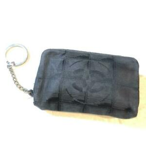 CHANEL New Travel Line Mini Pouch Coco Mark Coyne Case Black Auth woman #7054Q