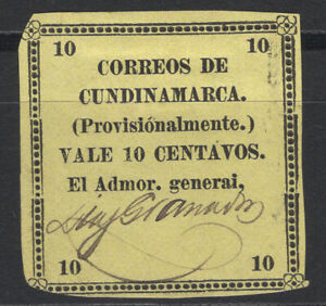 Colombia Cundinamarca 1883 Sc. 13 state provisional issue, 10c yellow MNG