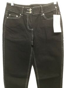 NWT SPIRITED RANDOLPH DUKE BLACK SLIM SKINNY JEANS WHITE STITCH SIZE 4 L31