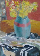 'Vase and Flowers' Still Life Original painting by Ronald Hellen, Gouache