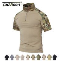TACVASEN Mens Cotton Tactical Shirt Short Military Camo Moisture Wicking T-Shirt