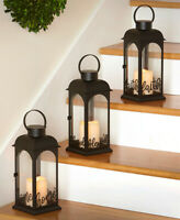 Decorative Sentiment Lantern LED Pillar Candle Hanging or Tabletop in 3 CHOICES