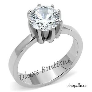 2.05 Ct Round Cut CZ Solitaire Stainless Steel Engagement Ring Women's Size 5-10