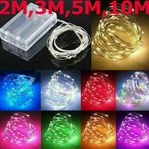 Party Fairy Lights Silver/Copper 20/30/100 LED 2m/3m/5m/10m Battery Micro Rice