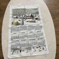 Vintage Calendar Towel 1971 Homestead Farm Scene Shabby Country