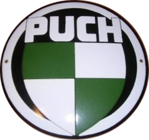 Puch vitreous enamel steel badge 130mm diameter (jj)