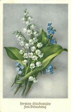Lily of the valley birthday greetings postcard