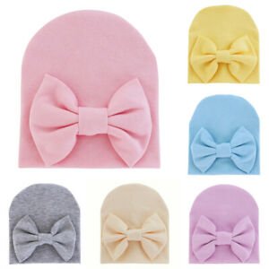 Newborn Infant Boys Girls Bow Knot Beanie Hat Hospital Cute Soft Head Wrap Caps