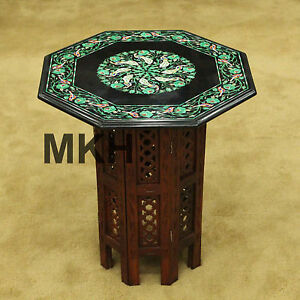 Bed Side Table Wood Stand Storage End Bedroom Marble Mosaic Inlay Side Furniture