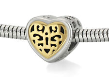 Stainless Steel Filigree European Bead Locked Heart Charm For European Bracelets