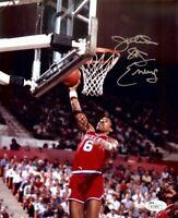 Julius Erving Signed Autographed 8X10 Photo Sixers Road Slam Dunk JSA R33896