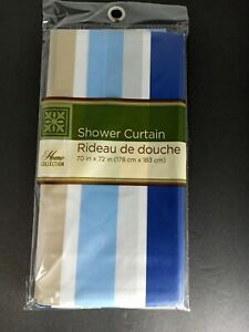 "HOME COLLECTION blue~tan~WhiteStriped Plastic Shower Curtain ~ 70"" X 72""~New"