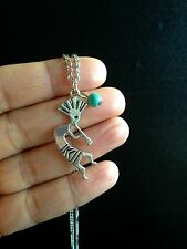 Necklace Silver Turquoise Musician Hippie Ethnic Boho Tribal Bohemian N1090