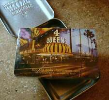 4 QUEENS CASINO Las Vegas SEALED, NEW PLAYING CARDS in Hinged Metal Case