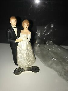 Vintage INARCO Bride and Groom Wedding Cake Topper MCM Made In Hong Kong