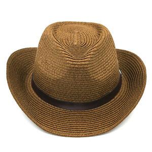 Kids Girls Boys Straw Hats Wide Brim Cowboy Cap Cowgirl Summer Beach Sun Hat