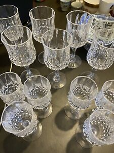 Vintage Etched Cut CRYSTAL Wine & Cordial Glasses SET OF 12 FLAWLESS