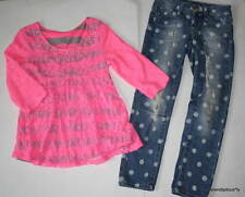 Euc Justice Pink Striped Lace Top & Polka Dot Jeans 6/7
