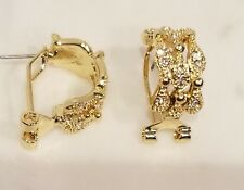 GOLD PLATED PAVE CLEAR CZ OMEGA BACK HALF HOOP EARRINGS