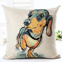 SAUSAGE DOG / DACHSHUND Cushion Cover! Watercolour Art Linen Pillow 45cm Gift