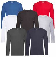 Fruit Of The Loom Mens Original Plain Rib Crew Neck T-Shirts 100% Cotton