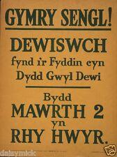"British Army Welsh Language Recruiting Poster Gymry World War 1 1915 6x5"" Print"