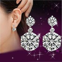 Crystal Women Elegant Silver Plated Ear Stud Earrings Rhinestone Jewelry Bridal
