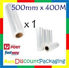 """1x Hand Stretch Film Pallet Wrap 500mm x 400m Meter Shrink Wrapping Clear 25U 3"""""""