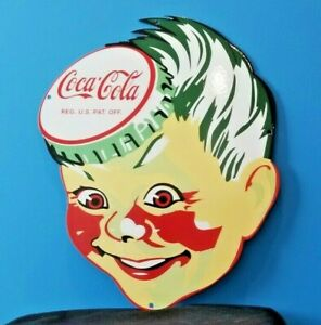 VINTAGE COCA COLA PORCELAIN GAS BEVERAGE SODA BOTTLES SERVICE SPRITE SIGN