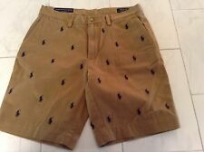 """NWT POLO RALPH LAUREN MENS KHAKI SHORTS PONIES ALL OVER CLASSIC FIT 9"""" SIZE 36"""