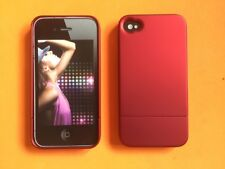 Red Two Piece Soft Luxury Lined Hard Metallic Case Cover Skin for iPhone 4 4S