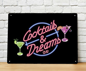 Cocktails and Dreams Bar Sign A4 metal Plaque, Movie bar Sign