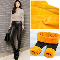 Winter Warm Women Fleece Lined Thick Thermal Trousers PU Leather Leggings Pants