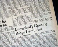 DISNEYLAND Amusement Theme Park Anaheim California OPENING DAY 1955 Newspaper