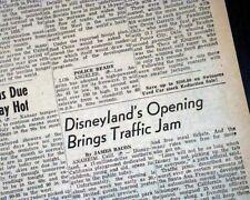 DISNEYLAND Amusement Theme Park Anaheim California OPENING DAY 1955 Newspaper