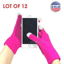 Wholesale Lot of 12 Touch Screen Gloves Smartphone Tablet Pad US Stock (PINK)