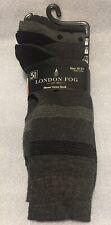 NEW Men's LONDON FOG Size 10-13 5 Pair Black/ Grey Print Dress Crew Socks