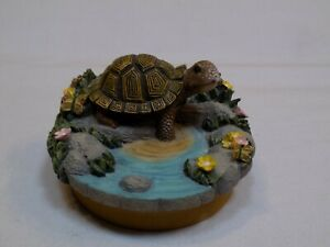 Our America Yankee Candle Jar Lid Cover Resin Topper Turtle in Pond Pink Flowers